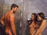 Teen Sisters Roxy and Shana Lane Gives Blowjob To New Step Daddy Under Shower
