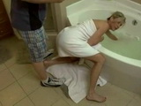 Milf Mom Stuck Her Arm In The Tub And Begs Dirty Stepson For Help