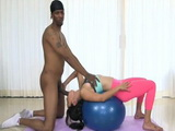 Hot Fitnes Girl Exercise With Big Black Cock