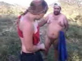 Latin Young Wife Caught Cheating In A Field With Two Grose Guys
