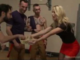 Busty Blonde Rewarded Firemens With Group Fucking For Saved Her Kitty