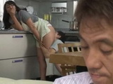 Mistreating Stepmother In Kitchen While Dad Is In Living Room