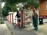Grandpa Repairman Fucks Naive Teen With Bicycle