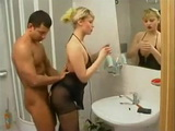 Hot Russian Blonde Teen In Pantyhose Fucked In Bathroom While She Is Fixing Makeup