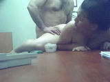 Mature Wife Cheating On Her Hubby With His Fat Boss In The Office Next To His