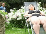 BBW Squeezed Young Boy In The Backyard