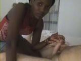 Amateur Black Kenyan Girl Blows White Cock Until Facial Cumshot