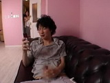 Japanese Mom Catch Teen Boy Jerking on Cell Phone