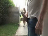 Blonde Girl Saw A  Big Surprise Back At Her Yard