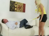 Blonde Catching Flies And Accidentally Hit Her Dear Step Brother In The Crotch
