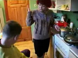 Russian mom and son in kitchen xLx