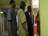 Lustful Blonde Milf Made Mistake By Letting Three Hotel Janitors In Her Room