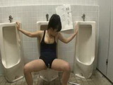 Girl bound on public toilet used