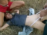 Outdoor asian girl gets beat up living