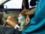 Horny Brunette Fucked In The Car