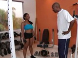 Ebony Housewife Anal Fucked at her Home Gym By Her Black Fitness Instructor