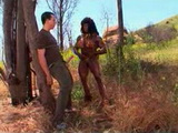 African Bodybuilder Woman Fucks White Boy In Wilderness