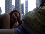 Fat Guy Fucked Chubby GF By The Window And Filled Her Pussy With Cum