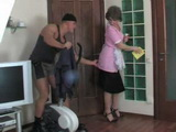 Mature Maid Grabbed For Ass and Fucked By Young Master