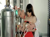 Filthy Scientist Milking Out Hot Milf With Big Joggs In Milk Factory