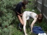 Amateur Interracial Fuck at Work In Bushes