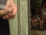 Broken Bicycle Distracted Hot Girl To Notice That Stranger Jerking Off His Cock Behind Her Back