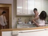 Father and Wife An Shinohara Almost Busted Being Naughty In Kitchen