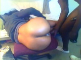 Amateur Afroamerican Teen Gets Fucked on a Chair and Swallows Load