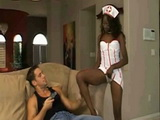 Ebony In Sexy Nurse Uniform Teasing White Stud
