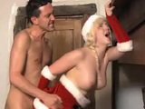 Blonde Santa Gets Anal Fucked By The Fire Place