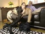 Stunning Hot Girl In Ripped Off Pantyhose Gets Banged By Old Guy