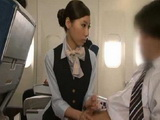 Japanese Stewardess Gives Tekoki Service To A Customer CFNM