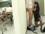 Japanese teacher plays with students cock