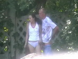 Voyeur Tapes Teen Couple Blowjob and Fuck Attempts Outdoor