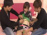 Teen Hikaru Shiina In Kimono Gets Her Pussy Creampied By Two Guys Uncensored