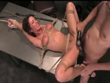 Bound to desk busty babe get anally fuckaed and vibrated