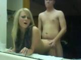 Loud Moaning Teen Bathroom Mirror Sex