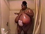 Black BBW Woman With Monster Boobs Under Shower