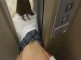 Creepy Stalker Traps Japanese Teen In The Elevator